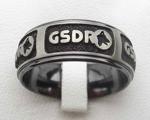 relieved black zirconium ring engraved with GSDR logo