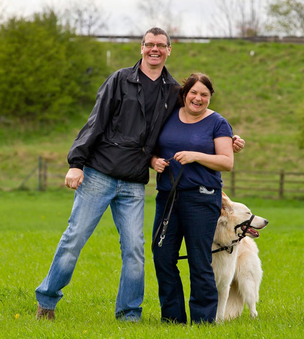 couple and their dog enjoying the gsdr walk