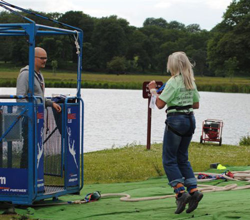jayne hopping into the bungee cage