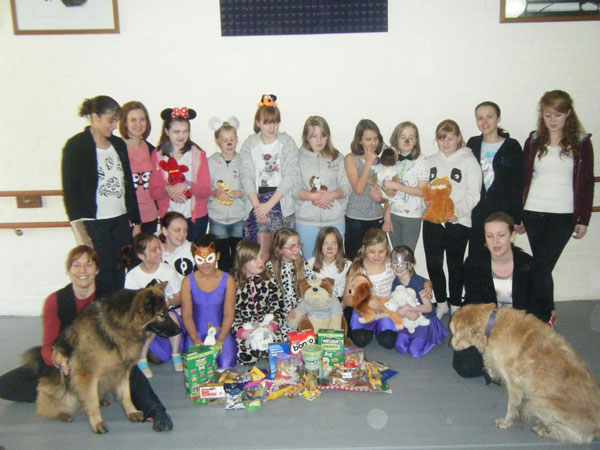 staff and pupil of Footnotes school raising money for german shepherd dog rescue