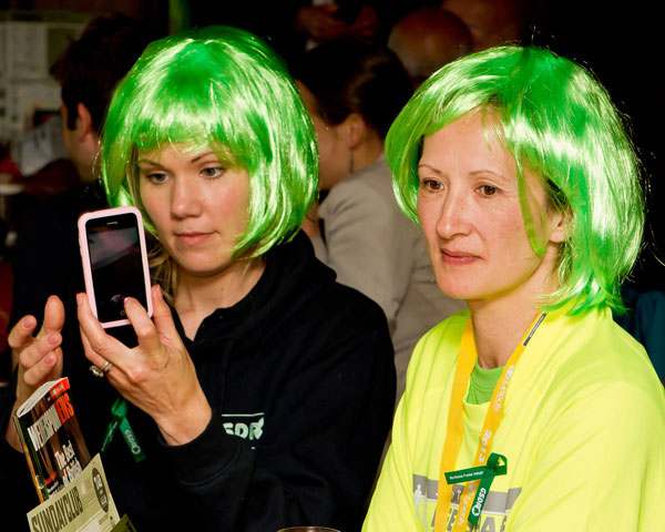 gsdr volunteers wearing green hair