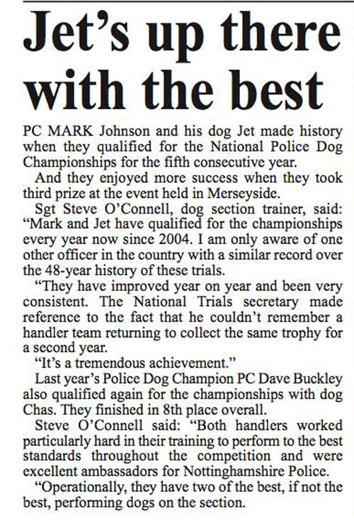 report on police dog trials