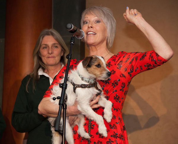 Helen Chamberlain with her own rescue dog