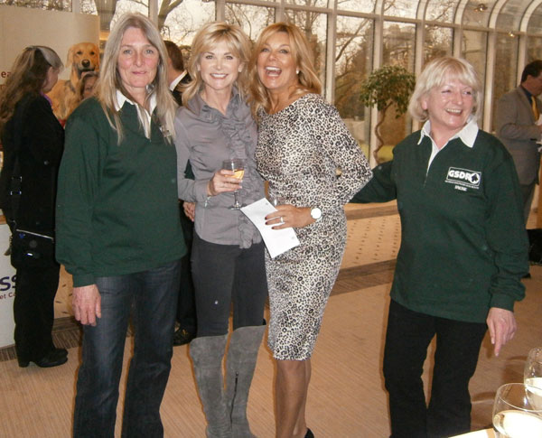 gsdr volunteers posing with Anthea Turner and Jilly Johnson