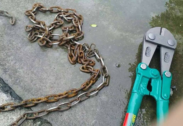 bolt cutters had to be used to remove the terrible chain